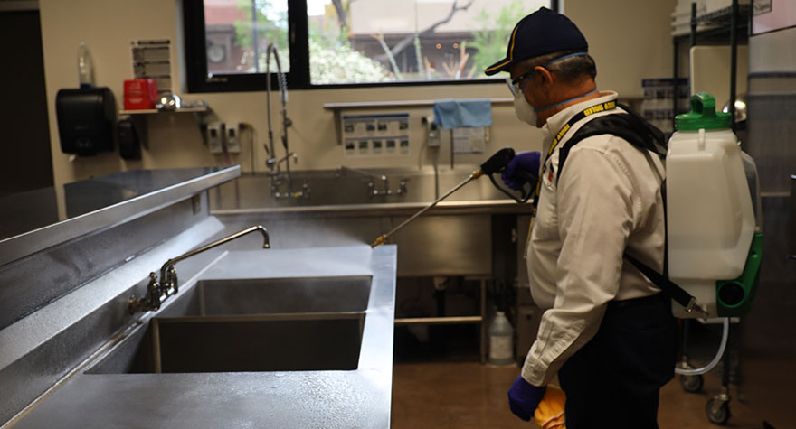 Sanitizing an Industrial Sink
