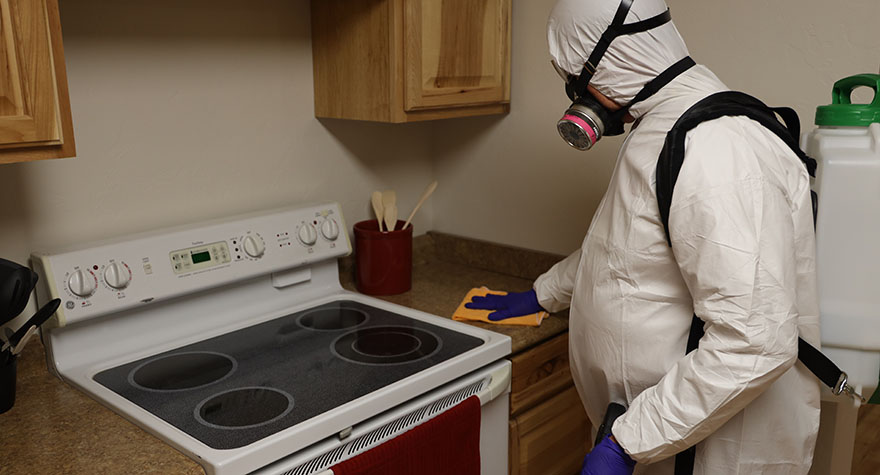 Wiping Kitchen Stove with Sanitizing Wipe